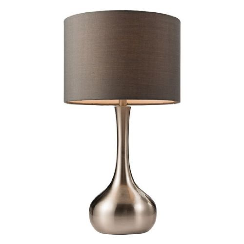 Satin nickel effect plate & dark grey tc fabric Tablelamp BX61192-17 by Endon (Double Insulated)